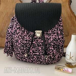 handmade szydełkowy plecak różowa panterka