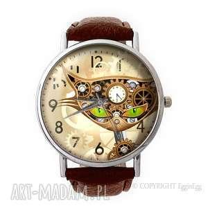 hand-made zegarki steampunkowy kot - skórzany zegarek z dużą tarczą
