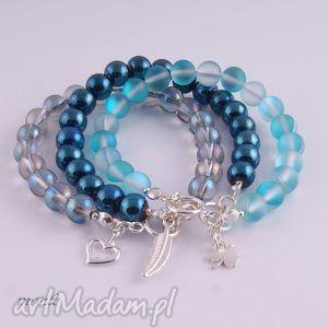 ręcznie wykonane bransoletki denim blue, bransoletka