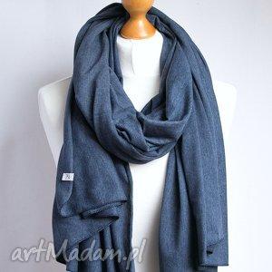 ręcznie zrobione chustki i apaszki szal bawełniany w kolorze jeansowym, modny
