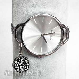BLACK y-zegarek, modny, srebrny, z-zawieszką, czarno-biały, klasyka