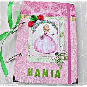 scrapbooking notesy pamiętnik/notatnik imienny dla księżniczki, notatnik