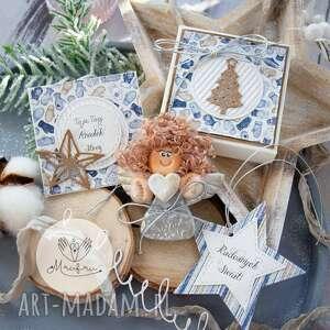 mrufru, aniołek bożonarodzeniowy. zestaw świąteczny: aniołek, kartka