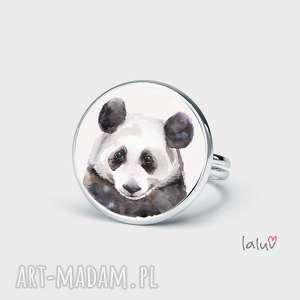 prezent na święta, pierścionek panda, prezent, bambus, czarno, biała, słodka