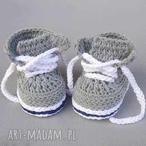 buciki trampki stanford, trampki, buciki, prezent, niemowlęce, dziergane