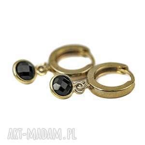 spinel, kolczyki z kamieniami, czarne kolczyki, srebro złocone