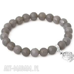 Gray agate with rose pendant. - ,agat,róża,zawieszka,