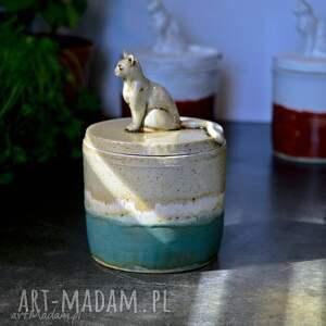 azulhorse pojemnik ceramiczny z figurką kota na herbatę kawę yerbę cukierki beż