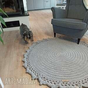 dywan okrągły ze sznurka z koronką, okrągły, bawełniany