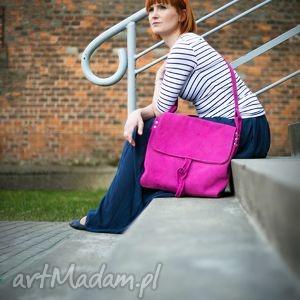 na ramię surowa baronowa rÓŻowa zamszowa, różowa, torba, kobieca, kolorowa, naturalna
