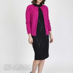 Zapinany sweterek, SWE008 amarant MKM, dzianinowy, rozpinany, krótki, kardigan