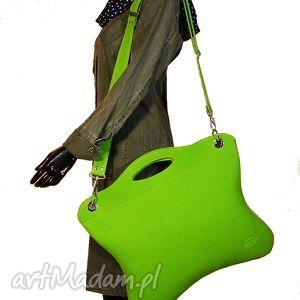 Oryginalna, uniwersalna zielona neonowa torba, torebka, filc, handmade, laptop