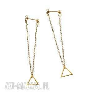 kolczyki długie trójkąty srebro 925 pozłacane, kolczykie, długie