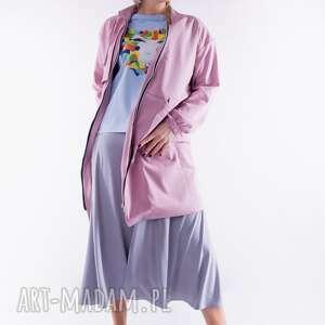płaszcz różowy - zwiewny, sukienka, dres, t shirt, bluzka, bluza, kurtka