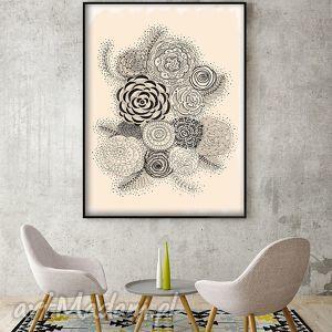 ręcznie zrobione grafika kwiaty a3