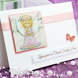 zaproszenie na chrzest św kolekcja little angels, zaproszenie, zaproszenia