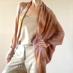 anna damzyn karmelowy wełniany kardigan w kształcie kokonu, kardigan, sweter