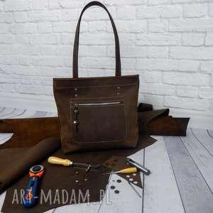 Shopper boho torebka skórzana handmade torba skóra torebki