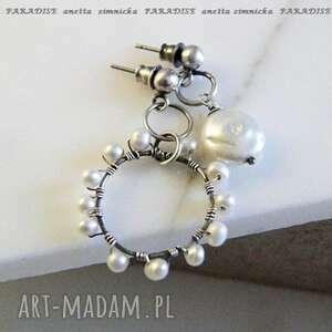 Srebro kolczyki, perły dobrana para anetta zimnicka perły