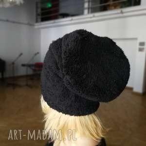 czapka czarny ciepły miś, czapka, futro, ciepły, zimowa, boho