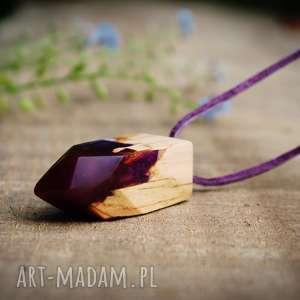 Wisior Sweet Violet [LUMI Collection], wisior, las, góry, naszyjnik, drewno