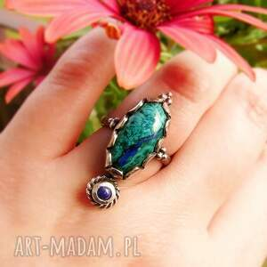 srebrny pierścionek z azurmalachitem, azurmalachit, kamieniem
