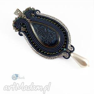 Granatowo-srebrny wisior sutasz - ,sutasz,soutache,wisior,ceramika,niebanalny,