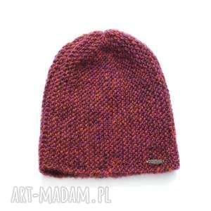 czapki czapka #31, czapka, wełna, alpaka, melanżowa, dziergana