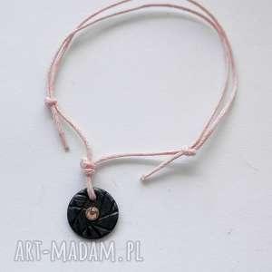 wyjątkowy prezent, okrąg bransoletka, srebro, swarovski, sznurek, oksydowane