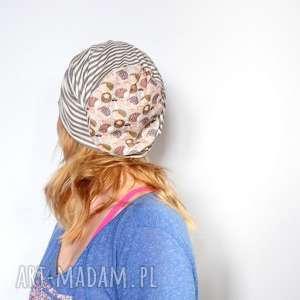 czapka damska dzianinowa w paski i jeże - paski, jeż, sport, damska, mama, chemia