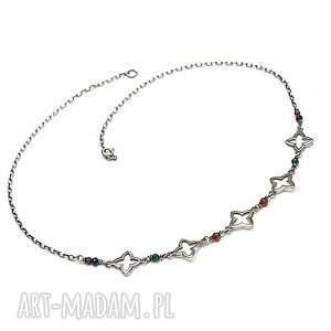 marrakesh vol 2 - naszyjnik, srebro, oksydowane, granat, szafir, szmaragd