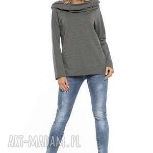 Bluza z szerokim kominem, T255, szary, bluza, szeroki, komin, dzianina, bawełniana