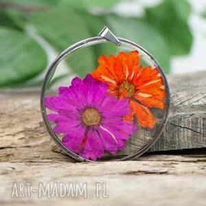 naszyjnik z różowym i pomarańczowym kwiatem z357, suszone kwiaty, kwiaty