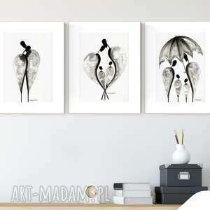 zestaw 3 grafik a4 wykonanych ręcznie, abstrakcja, elegancki minimalizm, 2490876