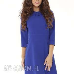 Elegancka sukienka z kołnierzykiem chabrowa 010 sukienki ella