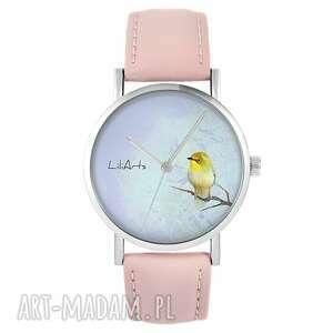 zegarki zegarek - żółty ptaszek pudrowy róż, skórzany, zegarek, skórzany
