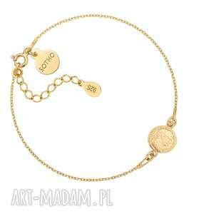 złota bransoletka z monetą - pozłacany, medalion, moneta