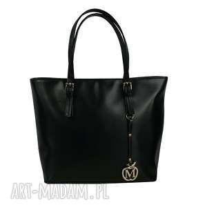 MANZANA Klasyczna duża torebka miejski styl eko skóra czarna, klasyczna, pojemna