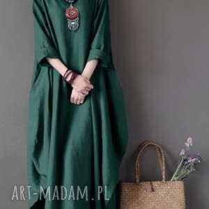 Sukienka oversize bawełna sukienki ruda klara sukienka, zielona