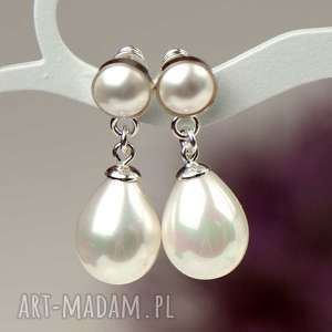 klasyczne, minimalistyczne kolczyki z perłami, perły
