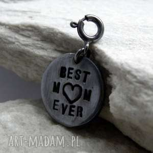 Prezent Best Mom , charms, anioł, mama, srebro, prezent, wisior