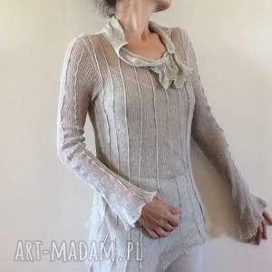 bluzki transparentna lniana bluzka z ozdobnymi przeszyciami, bluzka