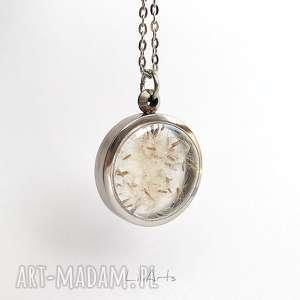 prawdziwy dmuchawiec - naszyjnik, okrągły medalion, elegancki, unikatowy, prezent