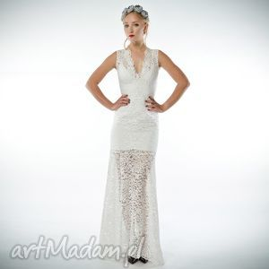 milita nikonorov irena - koronkowa suknia ślubna/wieczorowa, koronkowa