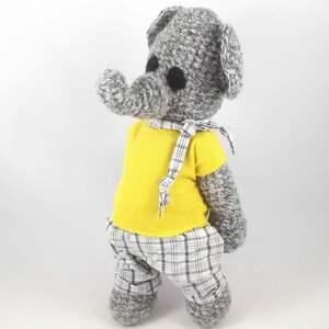 ręcznie wykonane zabawki benjamin - szydełkowy słonik, personalizacja