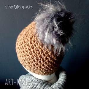 ciepła czapka, na drutach, wełniana, zimowa
