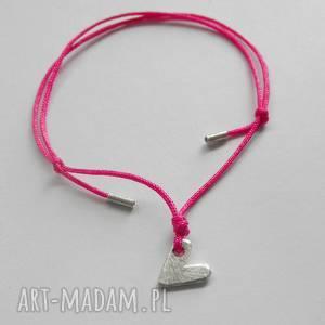 SERDUSZKO bransoletka, srebro, sznurek, serce