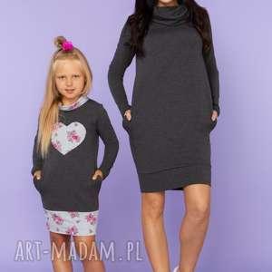 KOMPLET DLA MAMY I CÓRKI, sukienka dresowa z półgolfem i kieszeniami, model