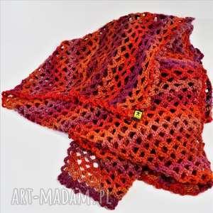 handmade szaliki wielki szal ażurowy w czerwieniach