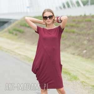 handmade sukienki creases burgund
